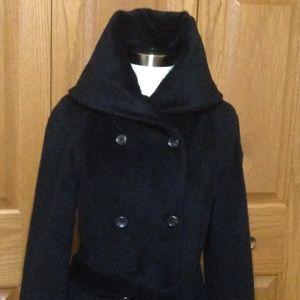 COLE HAAN-Suri Alpaca Double-Breasted Coat - Black